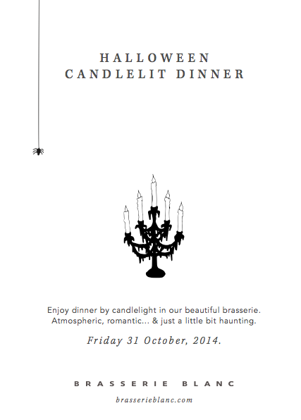 Dinner by candlelight on Halloween at Brasserie Blanc