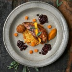 Delicious roast pheasant with potato rosti, pumkin and blackcurrant sauce