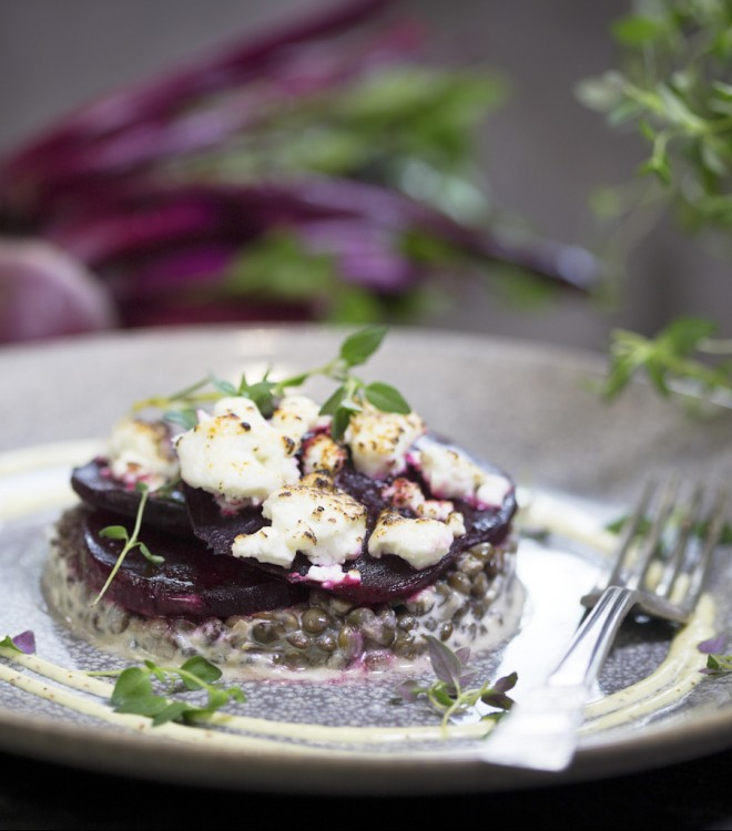 Grilled goat's cheese, beetroot & puy lentil