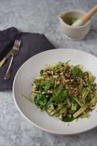Spinach, courgette & basil pasta, Pistou dressing